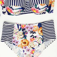 Cupshe Trip Out Garden Striped Bikini Set