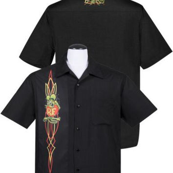 Rat Fink Pinstripe Panel Button Up Hot Rod Character