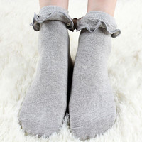 Japanese Kawaii White Lolita Socks With Lace Lovely  Sock Cute Ladies Women Princess Lace Ruffle Retro Frilly Socks For Girls