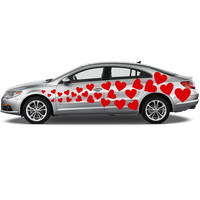 Vinyl Car Decal Flying Hearts with Different Shapes 54 pcs / Just Married Wedding Stickers / Heart Love Mural + Free Random Decal Gift