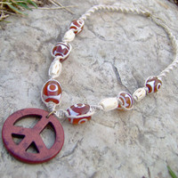 Peace Sign Hemp Necklace  Autumn/Fall  Hemp by KnottyandNiceHemp