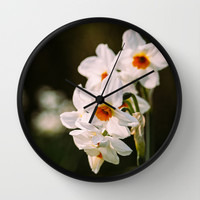 White Daffodil Flowers Wall Clock by Pati Designs