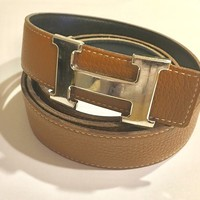Authentic HERMES reversible leather belt black tan with silver buckle SIZE 90