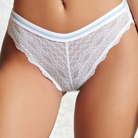 Sheer Lace Stripe Bikini Panty