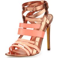 Strappy Metallic Leather Sandal, Rose Gold/Peach