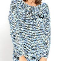 Blue Pocket Chest Mix Yarn Knitted Jumper