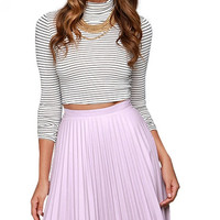 Purple A-line Pleated Mid Skirt