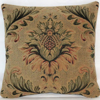 "Floral Medallion Chenille Pillow Small 13"" Square in Teal Green Gold Rust Tan Vintage Tapestry Verdure Look Luxurious Manor Style Ready Ship"