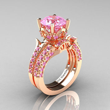 Classic French 14K Rose Gold 3.0 Ct Light Pink Sapphire Solitaire Wedding Ring Wedding Band Set R401S-14KRGLPS