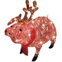 30in Icy Lighted Christmas Pig With Antlers- Trim a Home-Seasonal-Christmas-Outdoor Decorations & Figures