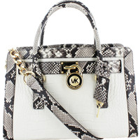 Michael Kors Hamilton Women's Embossed Leather Satchel Handbag Snake