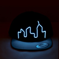 """El Wire Snapback Blue """"City"""" Hat - Perfect for: Electric Zoo, EDC, Coachella, Ultra, Electric Forest, Rave Clothing, Club Wear, EDM Clothing"""
