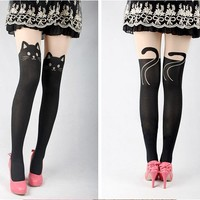 Sexy Lady Cute Cat Tail Gipsy Mock Knee Hosiery Pantyhose Tattoo Legging Tights