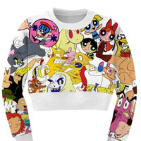 Women's Cartoon Collage Sports Crop Top Fitness Sweatshirt