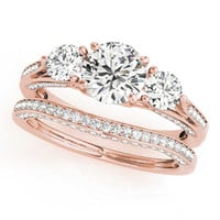 Three Stone Wedding Set Moissanite Engagement and Diamond Wedding Band - Trina