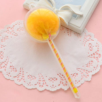 Yellow Novelty Gel Pen with Fuzzy Ball Top