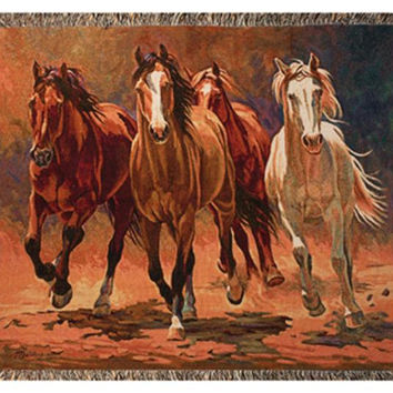 Majestic Horses Throw Blanket - Made In The Usa