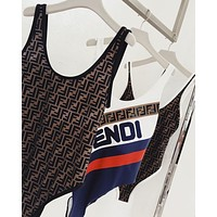 FENDI Hot Sale Stylish Women Sexy Print Vest Type One Piece Bikini Swimsuit Bathing Bodysuit-11