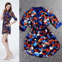 Blue Collar Half Cardigan  Heart Printed Drawstring Waist Mini Dress