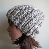 Hand-knit, Unisex,  Twisted Rib, Textured, and Slouchy, Chunky wool Beanie Hat in 'Oat White'.