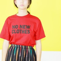 Zero Waste Reused Tee / No New Clothes Shirt / Red Oversized T Shirt / Small Medium Large