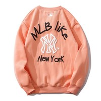NY fashion couple print hoodies are hot with a velvet crew collar #2