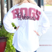 Hogs Seersucker Arkansas Jersey {White}