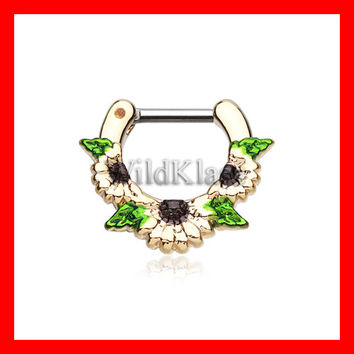 Gold Septum Clicker 16g Golden Daisy Garden Icon 14g Septum Ring Earring Cartilage Piercing Tragus Ring Helix Conch Nose Belly Nipple