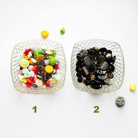 Set of vintage sewn glass buttons from 1940s to 1980's, black and multicolor assorted glass mid century buttons lot, retro sewing supply