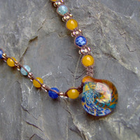 Hemp Jewelry - Hemp Necklace - Brown w/ Handmade Boro Glass Implosion Swirl Pendant - Macrame - Boho - Hippie - Blue and Yellow