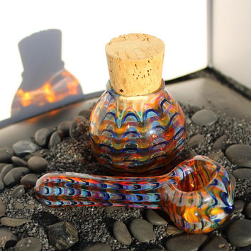 color changing glass pipe and jar set AMERICAN made