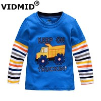 Boys T-shirt Kids Tees Baby Boy t shirts Children blouses Long Sleeve Cotton cars trucks stripes