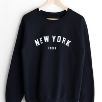 New York 199x Oversized Sweatshirt - Black