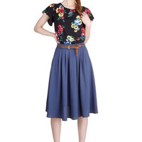 ModCloth Long Full Breathtaking Tiger Lilies Skirt in Blue