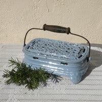 Antique French iron foot warmer, cast iron foot warmer, blue foot warmer, blue enamel, country home, French vintage, shabby chic, cottage