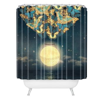 Belle13 The Rising Moon Shower Curtain