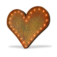 """36"""" Large Heart Vintage Marquee Sign with Lights (Rustic)"""