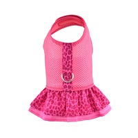 Fuchsia Air Mesh Ruffled Dog Vest Harness with Optional Face Mask