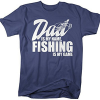 Shirts By Sarah Men's Funny Fishing T-Shirt Dad Is My Name Fishing Is My Game Shirt