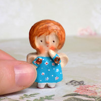 Hand carved wood angel Tiny doll Little angel Personal angel Miniature wooden doll Mini elf toy Personal gift Fairy figurine Mini gift 4cm