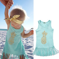 Toddler Kid Baby Girl Dresses Clothing Summer Sleeveless Tassel Tops Brief Cute Girls Dress Clothes