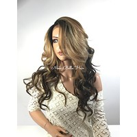 Haylee Highlighted Human Hair Blend Multi Parting loose curls lace front wig 22'