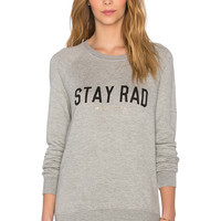 Spiritual Gangster Stay Rad Shrunken Sweatshirt in Heather Grey