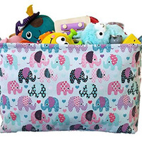 Canvas Toy Organizer Bins and Storage with Elephant Designs for Kids Toy Basket and Toy Organizers, Baby Toys, Books and Clothing for Nursery and Baby Hamper,