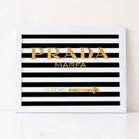 PRADA MARFA GOLD,Real Gold Foil,Gossip Girl Prada,Bedroom Wall Art,Prada Black And Gold,Prada Gossip Girl,Fashion Art,Prada Sign,Prada Decor