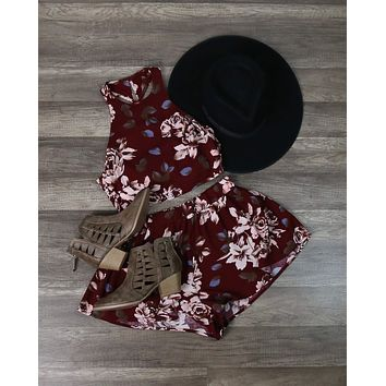 Reverse - Long Weekend Floral Print Halter Two Piece Set in Burgundy