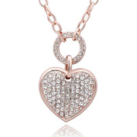 Rose Gold Plated Petite Heart Jewels Necklace