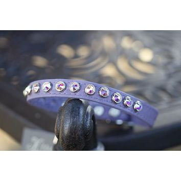 Solid Crystal Leather Dog Collar