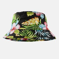 Hibiscus Pink Black Bucket Hat