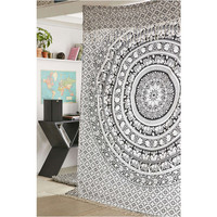 White Black Elephant Meditation Indian Mandala Tapestry Wall Hanging D – TheNanoDesigns